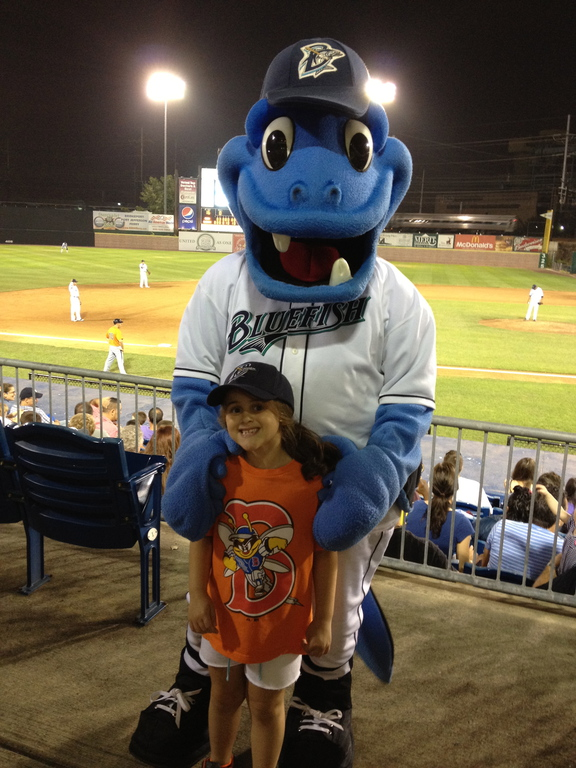 My Daughter with the Bluefish mascot