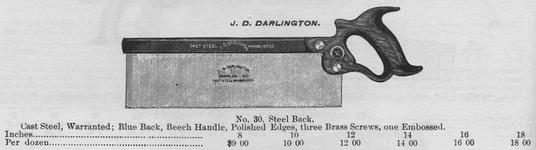 J.D. Darlington Saws featured in 1884 Catalog